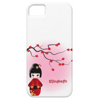 Japanese kokeshi doll at sakura blossoms iPhone 5 cover