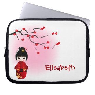 Japanese kokeshi doll at sakura blossoms laptop sleeve