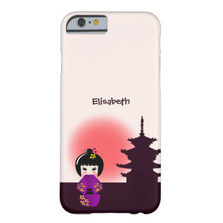 Japanese kokeshi doll at temple during sunset barely there iPhone 6 case