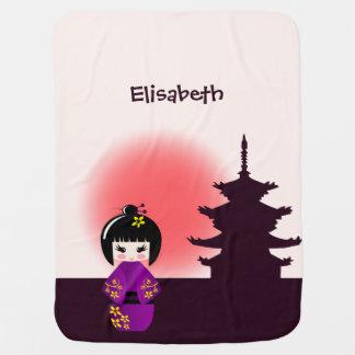 Japanese kokeshi doll at temple name baby girl pramblankets