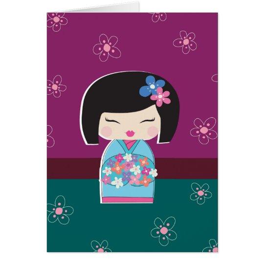 Japanese Kokeshi Doll (plum) Note Card