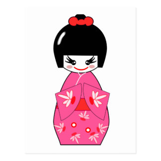 Japanese Kokeshi Doll Post Card