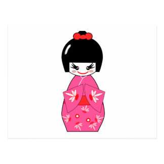 Japanese Kokeshi Doll Postcard
