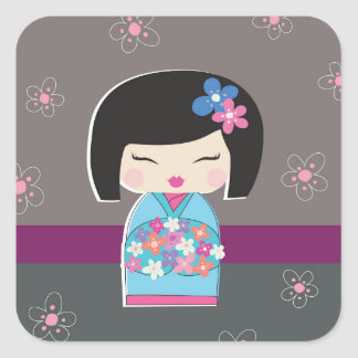 Japanese Kokeshi Doll Square Stickers
