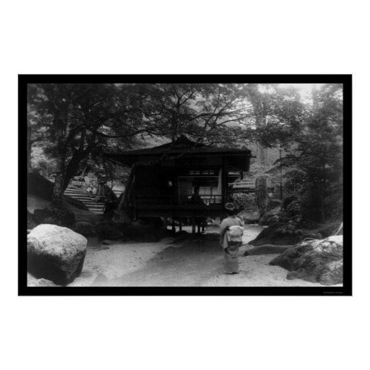 Japanese Lady Looking at a Tea House 1909 Poster