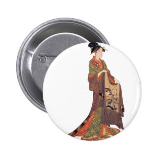 Japanese Lady Pinback Buttons