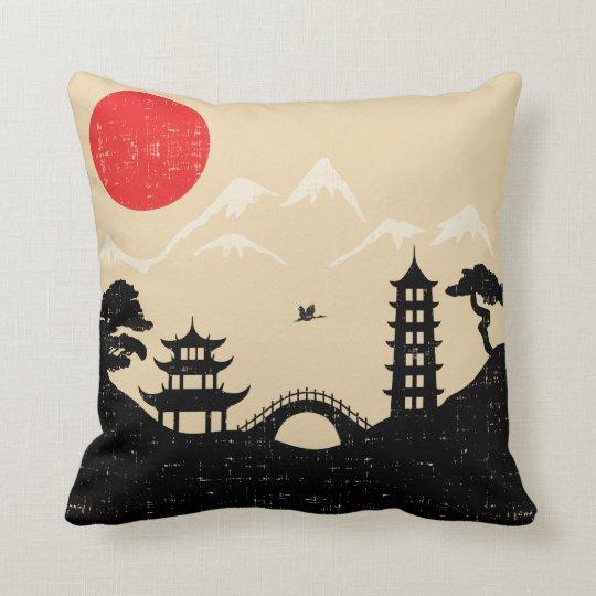 Japanese Landscape - Grunge Style Cushion