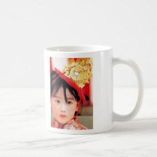 Japanese Little Girl Wearing a Kimono Basic White Mug