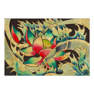 Japanese Lotus in Water Watercolor Poster