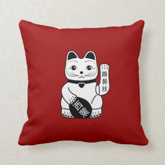 Japanese Lucky Cat Pictogram Throw Pillow