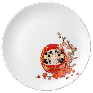Japanese Lucky Daruma with cherry blossom Porcelain Plates