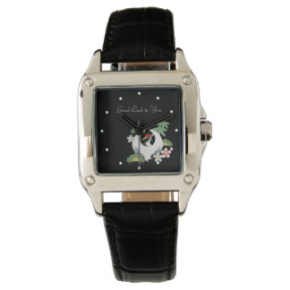 Japanese Lucky Symbols Cute Cool Black Watches