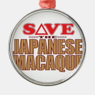 Japanese Macaque Save Silver-Colored Round Decoration
