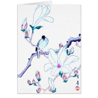 Japanese Magnolia and Bird Print Greeting Card