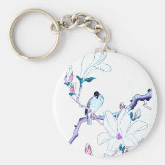 Japanese Magnolia and Bird Print Key Chains