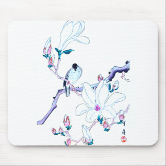 Japanese Magnolia and Bird Print Mouse Pad