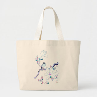 Japanese Magnolia and Bird Print Tote Bag