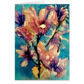 Japanese Magnolia watercolor batik Card