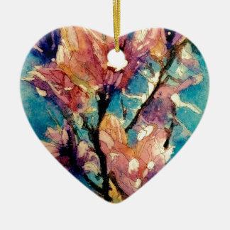 Japanese Magnolia watercolor batik Ceramic Heart Decoration