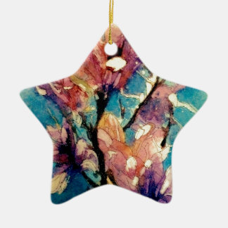Japanese Magnolia watercolor batik Ceramic Star Decoration