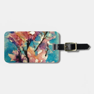 Japanese Magnolia watercolor batik Luggage Tag