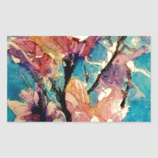 Japanese Magnolia watercolor batik Rectangular Sticker