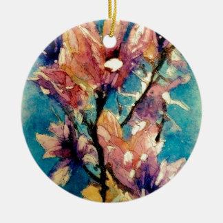 Japanese Magnolia watercolor batik Round Ceramic Decoration