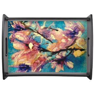 Japanese Magnolia watercolor batik Serving Tray