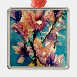 Japanese Magnolia watercolor batik Silver-Colored Square Decoration