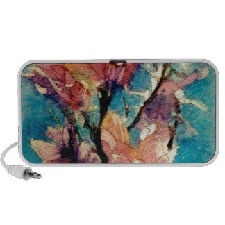 Japanese Magnolia watercolor batik Mini Speaker
