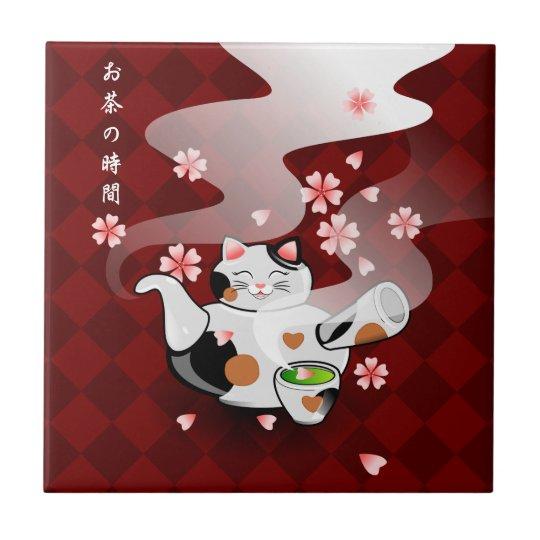 Japanese Maneki Neko Sakura Cat Teapot Rest Small Square Tile