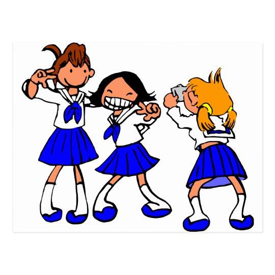 Japanese MANGA high-school girls Postcard