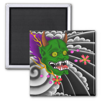 japanese mask tattoo design square magnet
