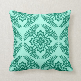 Japanese Medallion Pattern, Aqua and Turquoise Throw Pillow