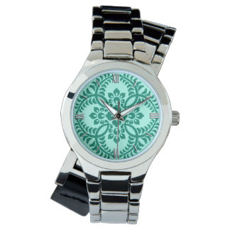 Japanese Medallion Pattern, Aqua and Turquoise Wristwatch