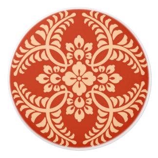 Japanese Medallion Pattern, Mandarin Orange Ceramic Knob