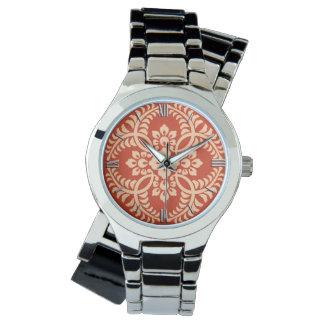 Japanese Medallion Pattern, Mandarin Orange Wrist Watch