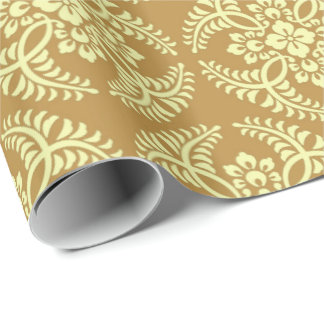 Japanese Medallion Pattern, Mustard Yellow Wrapping Paper