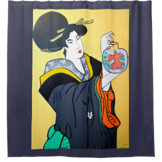 JAPANESE  MING LOO SHOWER CURTAIN