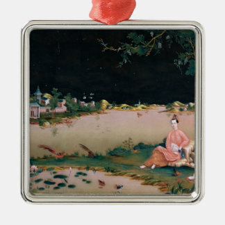 Japanese mirror painting showing a girl seated christmas ornament