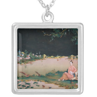 Japanese mirror painting showing a girl seated silver plated necklace