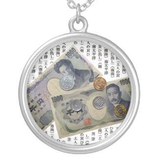 Japanese Money Design Round Silver Necklace