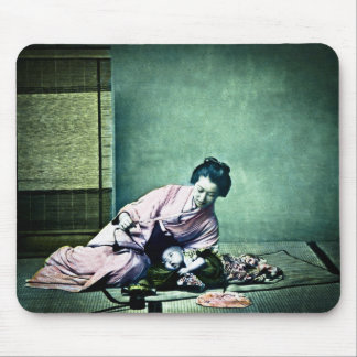 Japanese Mother and Baby Vintage Magic Lantern Mouse Pad