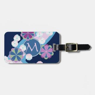 Japanese Nagarekiku Chrysanthemum River Floral Luggage Tag