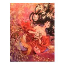 Japanese Noh Mask Fantasy Art Postcard