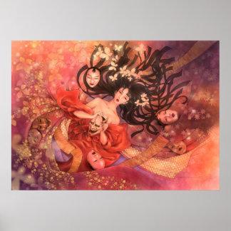 Japanese Noh Mask Fantasy Art Poster
