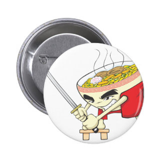 Japanese Noodle Soup Fighter with Samurai Sword 6 Cm Round Badge