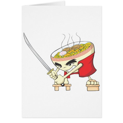 Japanese Noodle Soup Fighter with Samurai Sword Cards