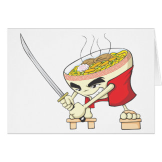 Japanese Noodle Soup Fighter with Samurai Sword Greeting Card
