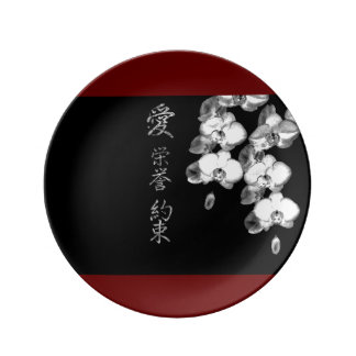 Japanese Orchids in Black Plate